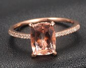 Claw Prongs Real 14k Rose Gold 6x8mm Morganite Pave h/Si Diamond Engagement Ring