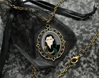 Loki necklace – Tom Hiddleston cameo portrait pendant – fandom cosplay jewellery / jewelry