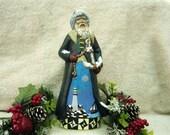 "Hand-Painted Ceramic Bisque Homespun Nautical Santa - 10.5"""