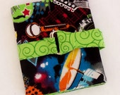 Rock and Roll Star with Lime Green Swirl Interchangeable Knitting Needle Case