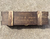 Engraved Wine Box Personalized Rustic Distressed Vineyard Wedding Gift Box