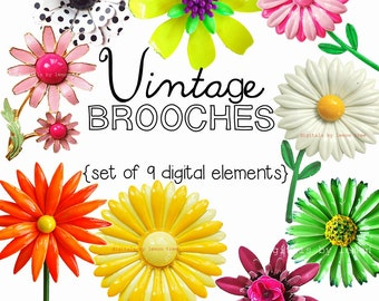NEW Digital Clip Art -- Vintage Brooches Collection (Instant Download)