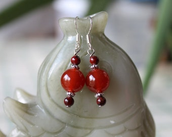 Round Red Agate Earrings, sterling silver hook