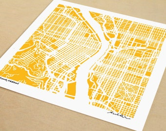 Map of Portland Oregon, Portland Print, Hand-Drawn City Print