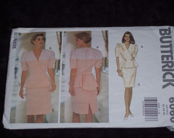 Vintage Butterick pattern,fitted top and skirt,1992,size 12-14-16,cut