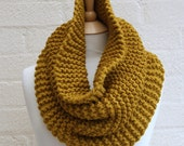Large Chunky knit mustard snood, cowl, infinity scarf