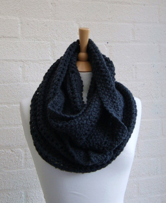 Charcoal grey infinity cowl, scarf,