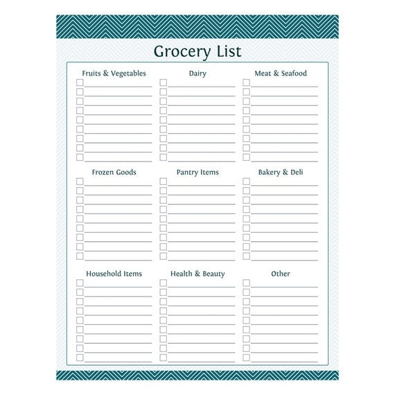 Grocery Shopping List with Categories Fillable Printable – Printable Shopping List with Categories