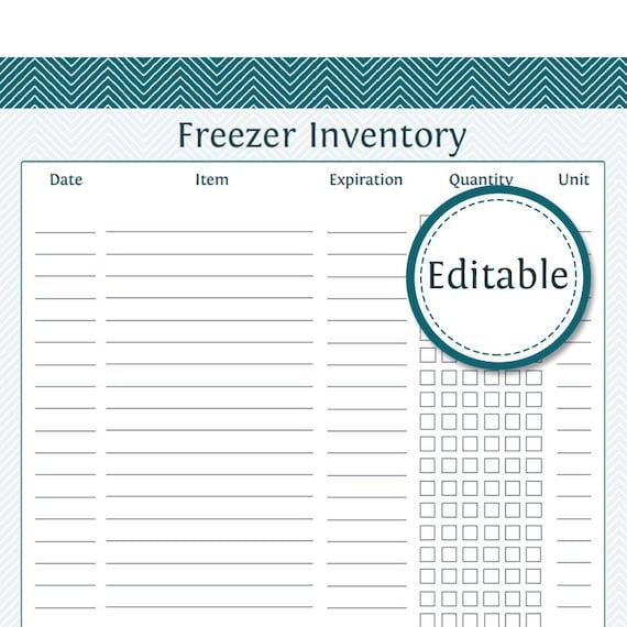 Freezer Inventory List Fillable Printable PDF Instant