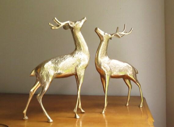 Vintage Large Brass Deer Figurines, Buck Pair, Deer Family, Woodland Brass Animal, Reindeer Statues, Set