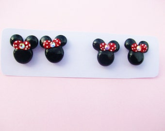 tiny cute minnie mouse earrings with pink bow or red bow