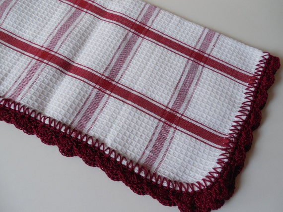 Crochet Edged Dish Cloths - Red (Maroon) and White