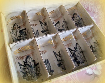 Vintage Mid Century Tumblers, Federal Glass Homestead Beverage Set Original Box, Black and Gold Leaves, Set of 8, Autumn, Mint
