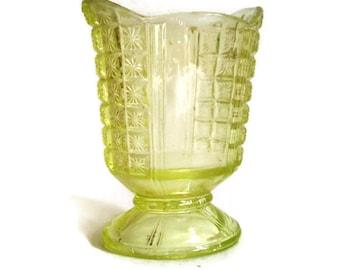 Vintage Depression Glass, Vase, Vaseline Glass, Small Pedestal Vase, Light Yellow Topaz, 1930's, Bud Vase, Cut Glass, Star Design Home Decor