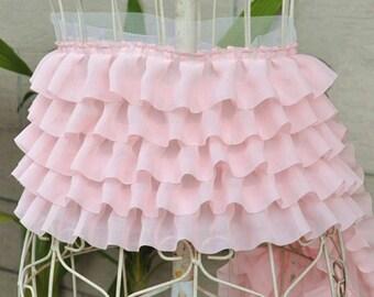 pink ruffled trim, ruffled lace fabric, chiffon ruffled lace trim, baby skirt, weddin decors