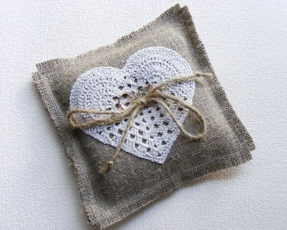 Ring pillow with crochet heart burlap ring bearer pillow wedding