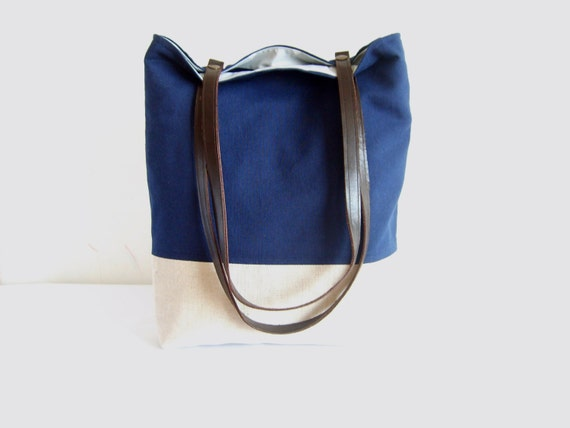 Navy tote, navy blue bag, leather handles, colorblock tote bag, fall ...