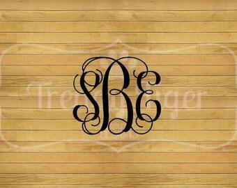 Interlocking Script Monogram Embroidery Design