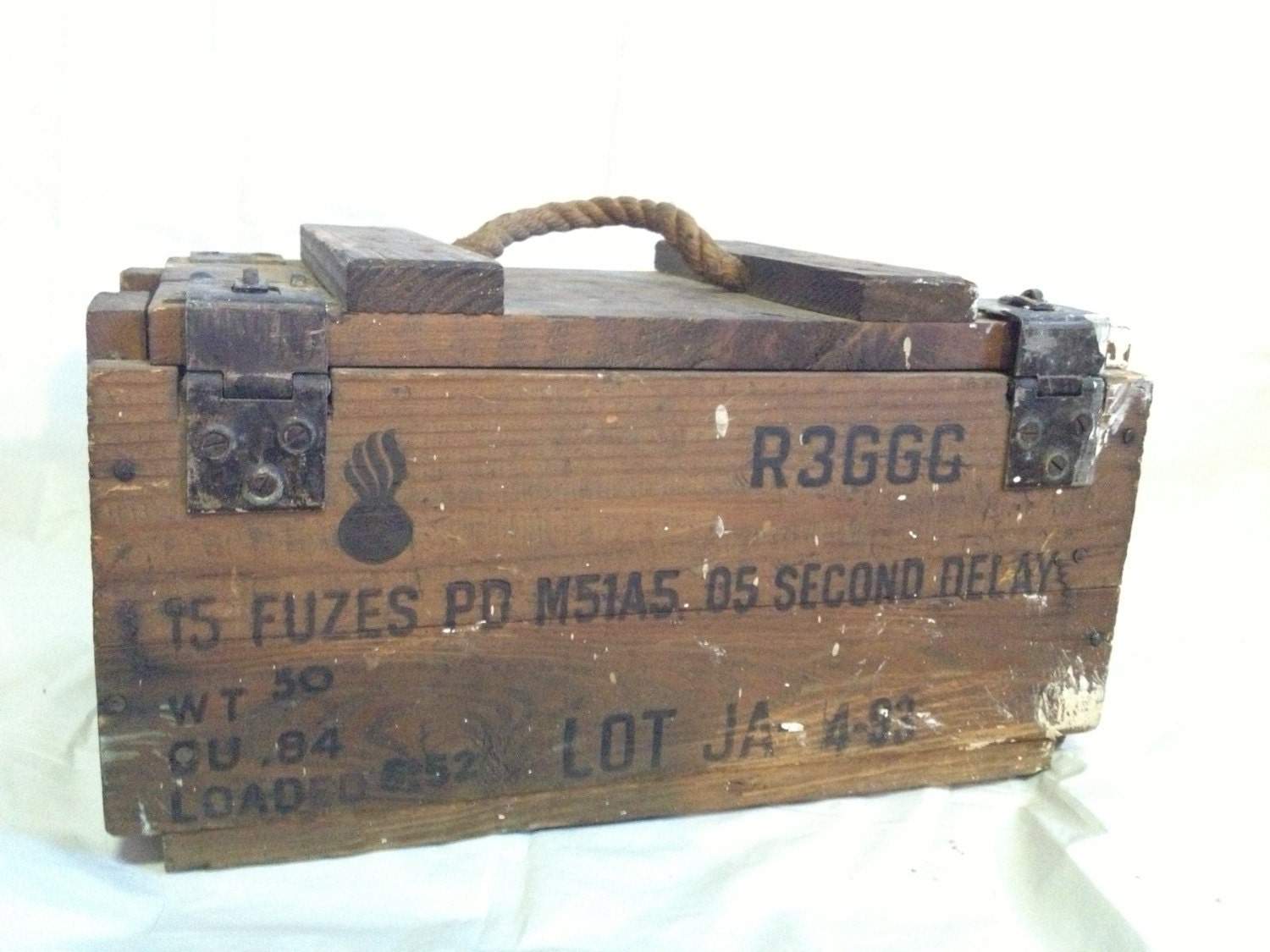 Antique Wooden Explosives Crate Dynamite Case Rope Handle