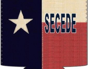 Groomsmen Gift. Texas Secede Flag neoprene Koozie. Best Man Gift. Usher Gift. Father of the Bride. Groom Gift