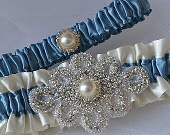 Wedding Garter Set - Antique Blue Garters And Ivory Satin With Rhinestone Embellishments, Garter Belts, Bridal Garter Set