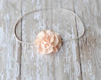 Baby headbands, Peach headbands girl bradbands, Mini Flower Trim Headband Newborn Photo Prop Baby Girl Headband
