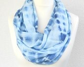 Blue Infinity Scarf Pastel Mint and Blue hand dyed large Circle Scarf