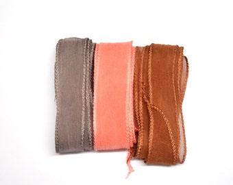 Hand dyed Silk Ribbons  - Set of 3 - taupe - salmon - caramel