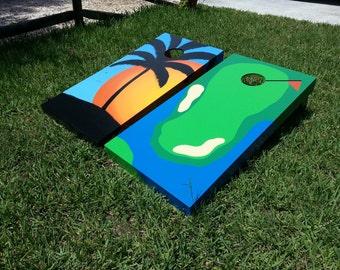 Beach Scene, Palm Tree, Sunset, Golf Course Custom Cornhole Boards