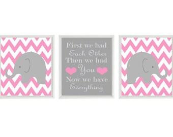 Elephant Nursery Art Print Set  - Chevron Pink Gray Decor - First We Had Each Other Quote - Modern Baby Girl Room - Wall Art Home Decor