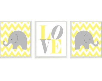 Nursery Art - Elephant Chevron Nursery Prints, Gray Yellow Neutral Baby Wall Art  Love Baby Nursery Decor Baby Boy Baby Girl Nursery