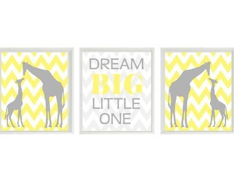 Giraffe Nursery Wall Art Print - Dream Big Little One Quote -Gray Yellow Chervon  - Mom Baby Giraffes Modern Baby Neutral Room Home Decor