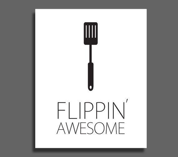 Flippin 39 awesome spatula kitchen art printable wall decor for Black and white kitchen wall decor