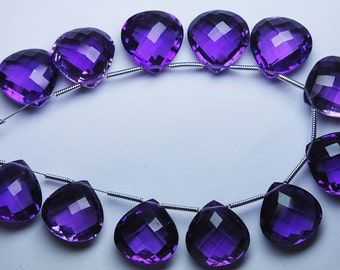 11 Pcs,AAA--PURPLE AMETHYST Quartz Faceted Heart Briolettes 10mm Size Calibrated Size