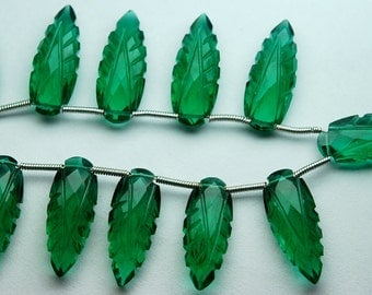 8 Inch Strand,Matched Pairs,Green Chrome Diopside Quartz Carving Faceted Pear Shape Briolettes,8x20mm
