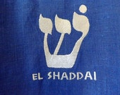 32 EL SHADDAI (God Almighty) 100% Ultramarine Blue T-Tunic Dance/Feast Garment with Matching Belt and Silver Trim