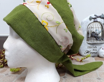 78 Olive Green 100% Linen with Floral Embroidered Rayon Two Toned Pull On Snood Head Covering