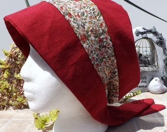 85 Ruby Red 100% Linen Two Toned with Rayon Floral Pull On Snood Head Covering