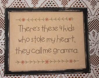 "Primitive Stitchery, ""There's These Kids Who Stole My Heart"", Grandma Gift, Farmhouse Decor, Rustic Decor, Prim Sampler"