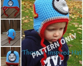 Thomas the Train Inspired Hat PATTERN, PDF, 5 sizes, Instant Download