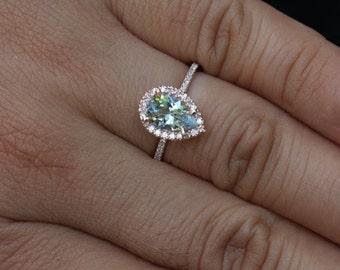 rose gold aquamarine engagement ring diamond ring 14k gold with aquamarine pear 9x6mm and diamonds halo - Teardrop Wedding Ring