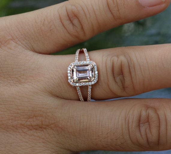Emerald Cut Diamond Wedding Ring 4 Fancy Split shank emerald cut