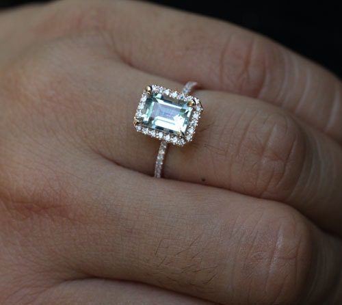 ... Ring with Aquamarine Emerald Cut 9x7mm and Diamond Halo in 14k Rose.  🔎zoom