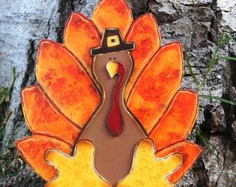 Fall Turkey Table Decoration - Thanksgiving Turkey Shelf Sitter