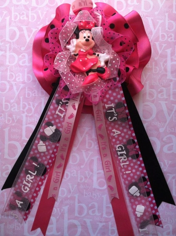items similar to minnie mouse mommy to be corsage baby baby shower minnie mouse theme baby shower corsage its a girl baby shower corsage pink capia corsage