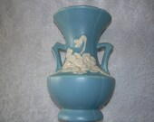 Vintage Weller Pottery Vase Blue with White Cameo Floral double handled