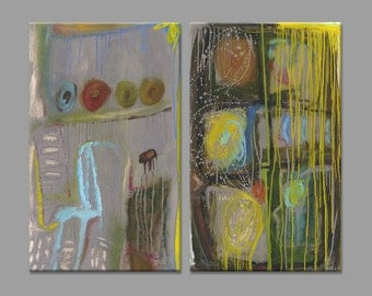 Original Paintings - Diptych - Abstract Large Wall Art - Contemporary art - Oil on Canvas - Encaustic - 39x32 inches (100x80 cm)