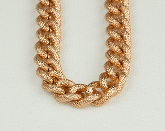 Rose Gold Chain, Chunky Chain, Aluminum Texture Chain, 18x14mm, Thread Dia. in 4mm, Open Link Chain, Pkg of 1m(1.1 yards.), N08Y.RG04.L1M