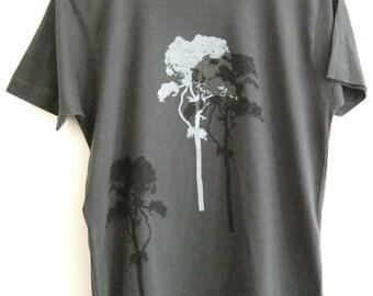 3 Trees Mens charcoal grey hand printed cotton T shirt
