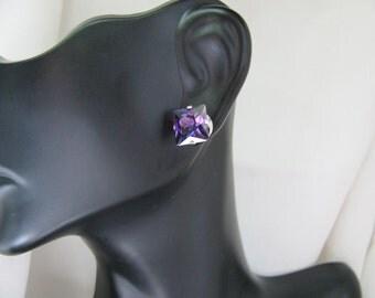 Princess Cut 9 mm Birthstone Cubic ZirconiaStud Earrings  925 Sterling Silver
